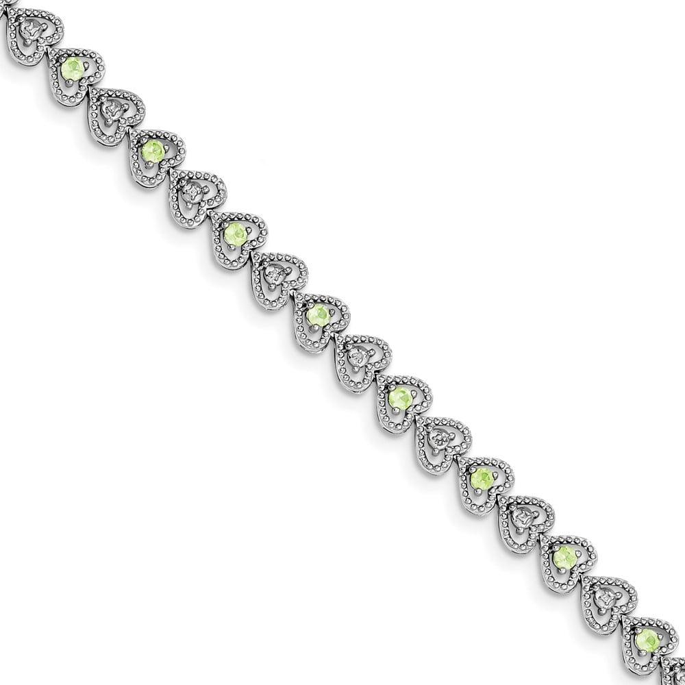 925 Sterling Silver Rhodium-plated Peridot Diamond Bracelet by Diamond2Deal