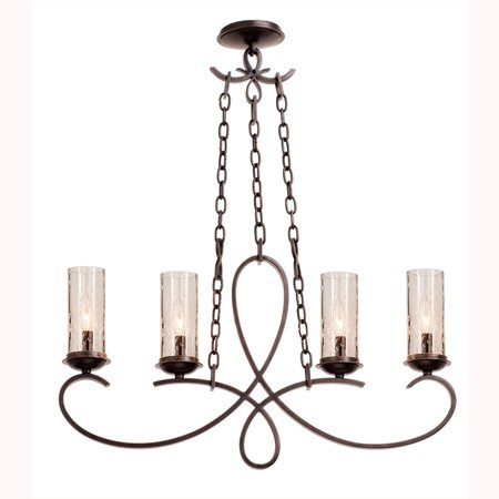 Island Lighting 4 Light With Country Iron Finish Hand Forged Iron and Seeded Glass E12 32 inch 240 Watts