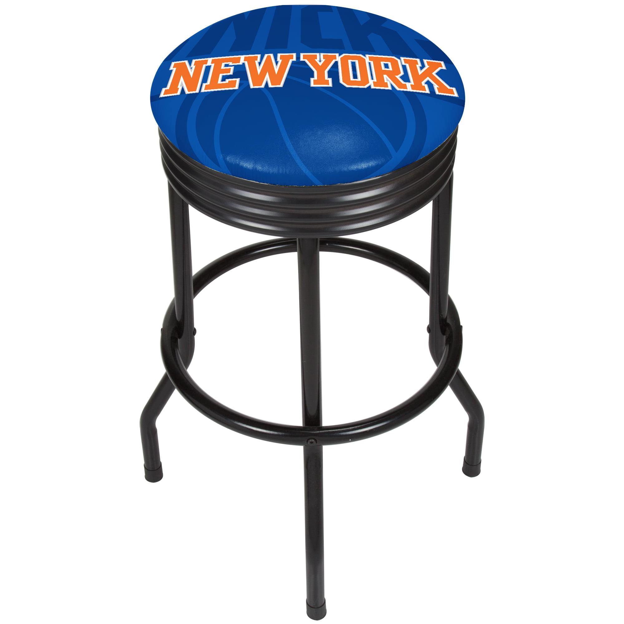 NBA Black Ribbed Bar Stool - Fade - New York Knicks