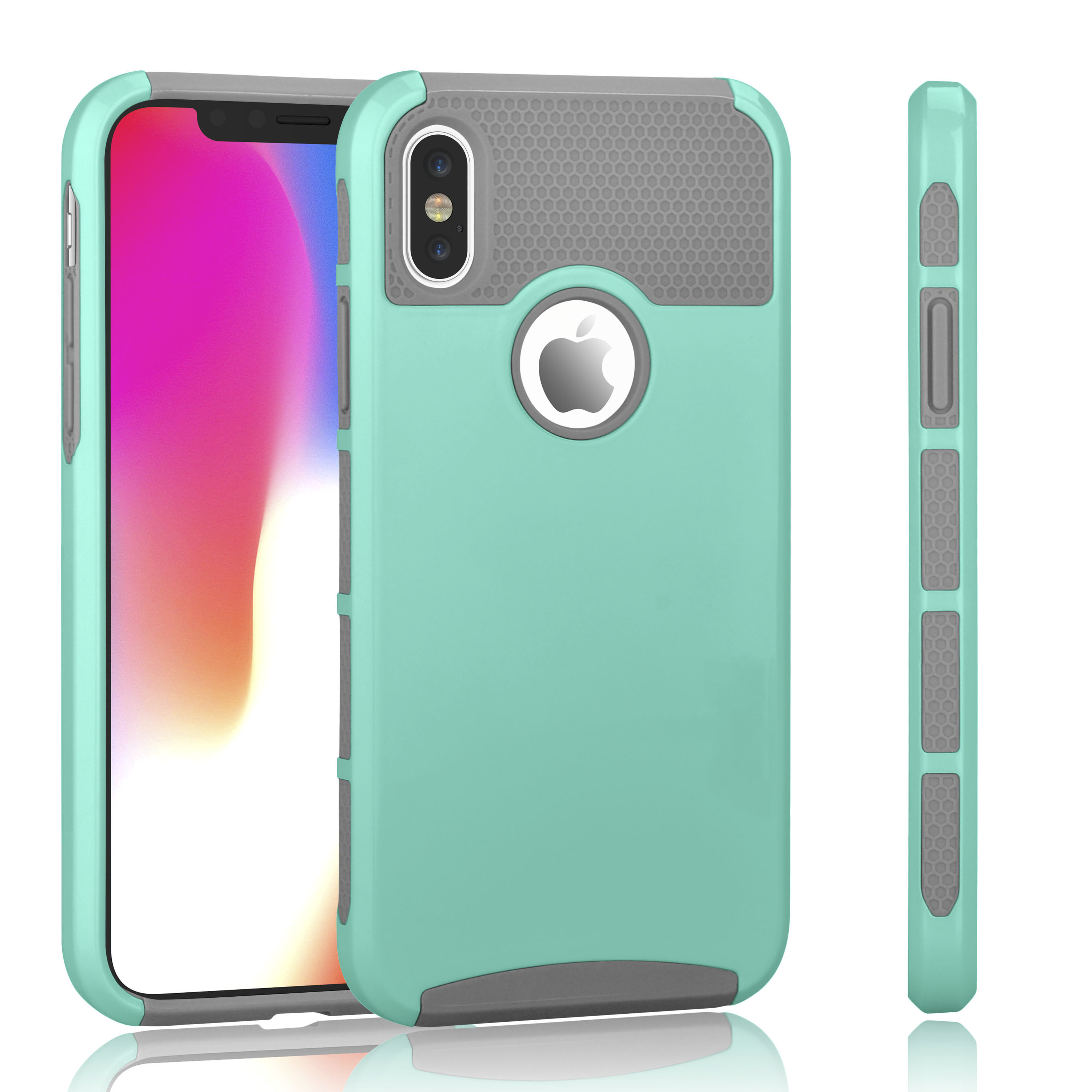 """Tekcoo iPhone X Case, iPhone XS Case, Slim Fit Dual Layer Soft Silicone & Hard Back Cover Bumper Protective Shock-Absorption & Anti-Scratch Case for Apple iPhone XS / iPhone X 5.8"""" - Turquoise"""