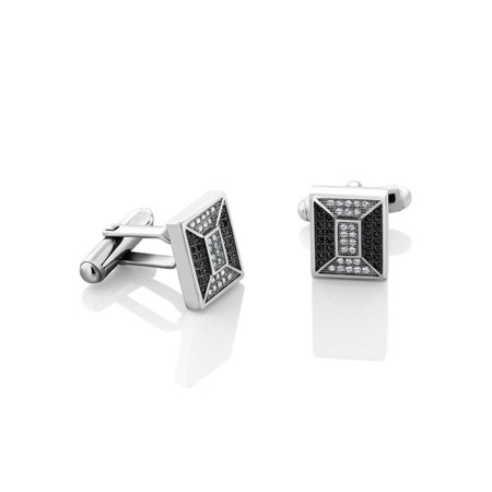 Elegant Black and White CZ 925 Sterling Silver Cufflinks For Men