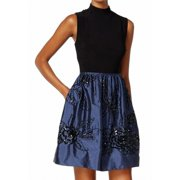 Adrianna Papell NEW Blue Black Womens Size 2 Colorblock Sequin Dress