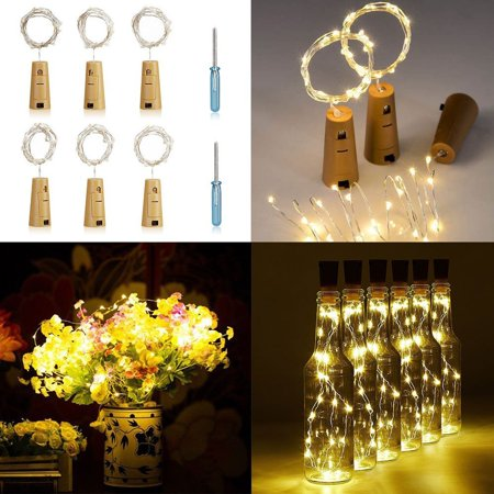 6-pack Wine Bottle Cork-Shaped Light, 77inch/6.6Feet 20-LED White Warm lights for Bottle DIY, Wedding, Christmas, Halloween, Party Decoration or Mood Lights