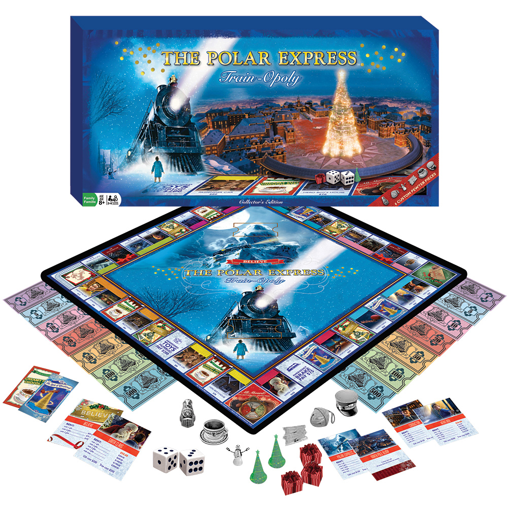 Polar Express Collector's Edition Train-Opoly Family Christmas Trading Game