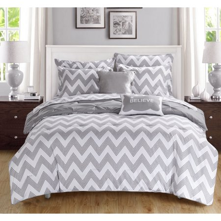 Foxville Pinch Pleated and Ruffled Chevron Print Reversible Comforter Set 9 Piece (Full) Gray - Chic Home Design