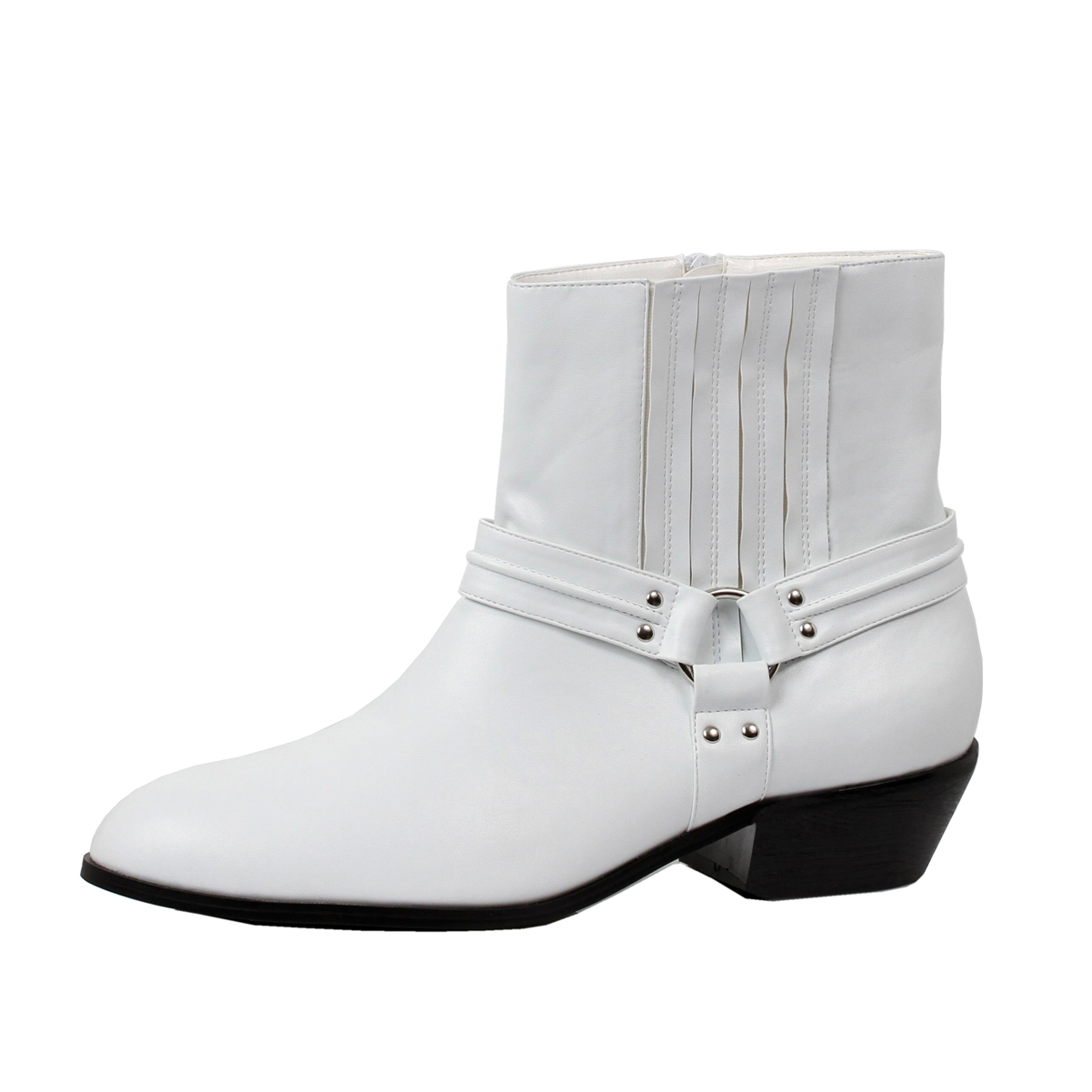 mens ankle boots white western calf booties 1 12 inch heel zipper mens sizing walmartcom