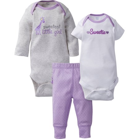 Gerber Newborn Baby Girl Mix N'Match Take Me Home Outfit, 3pc Set