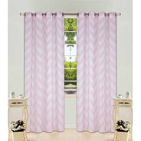 2 Panel Chevron Light pink Two-Tone Pattern Design Voile Sheer Window Curtain 8 Silver Grommets 55