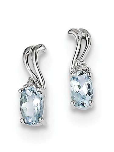Sterling Silver 0.38ct Rhodium Plated Diamond & Aquamarine Oval Post Earrings (10MM Long x 3MM Wide)