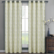 Pair (Set of 2) Olivia Embroidered Lined Grommet Top Curtain Panels - Ivory - 104x63