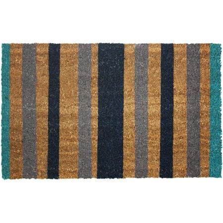 J & M Home Fashions Blue Stripes Vinyl Back Coco Doormat 18x30