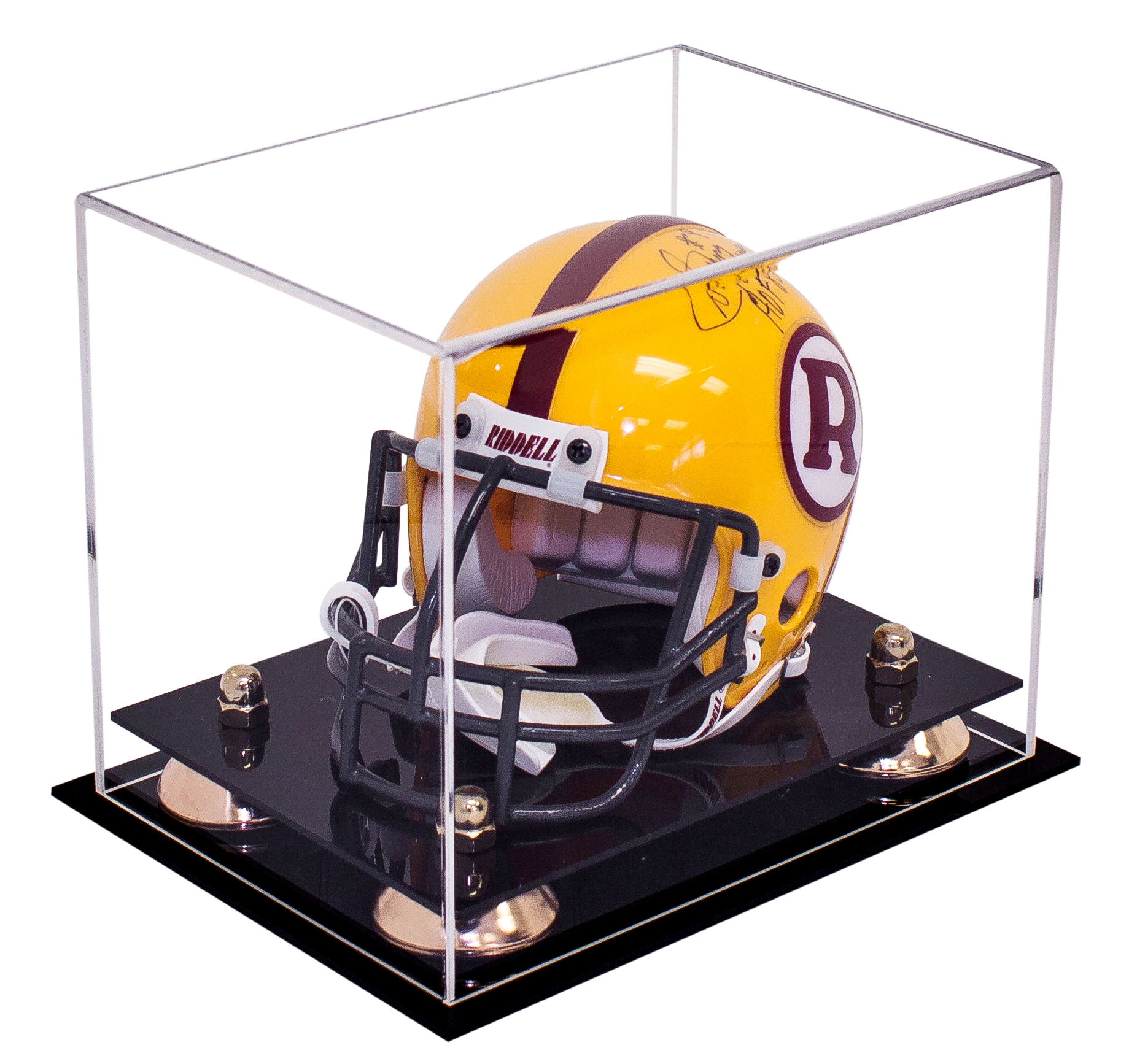 Deluxe Acrylic Mini Football Helmet Display Case with Metal Risers