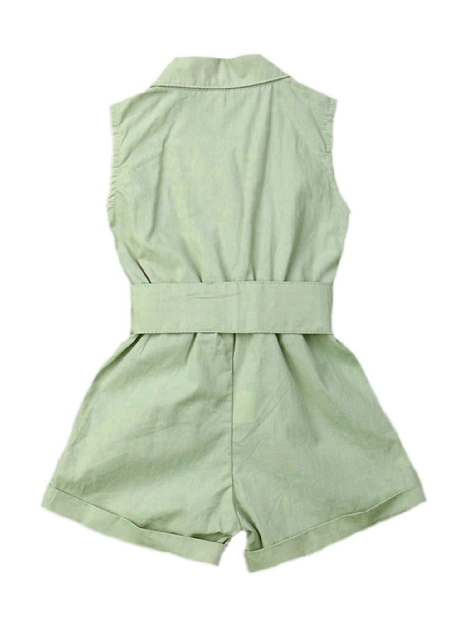 Details about  /Toddler Baby Buttons Sleeveless Jumpsuits Kids Clothing Cotton Solid Pattern New