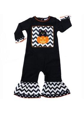 AnnLoren Baby Girls Black & White Halloween Kitten Romper