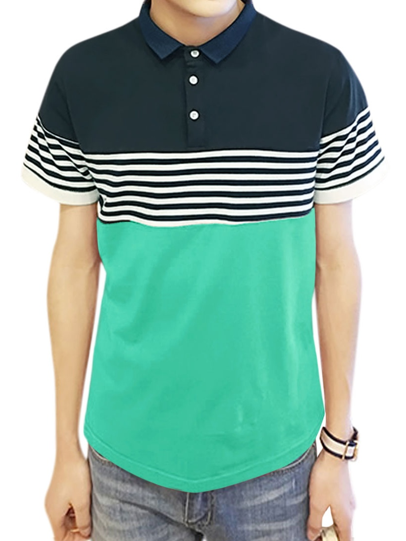 Unique Bargains Mens Stripes Short Sleeves Collared Slim Fit Polo