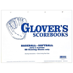 Glover's Scorebooks Baseball Softball 50 Scoring SHeets (No by Glover's
