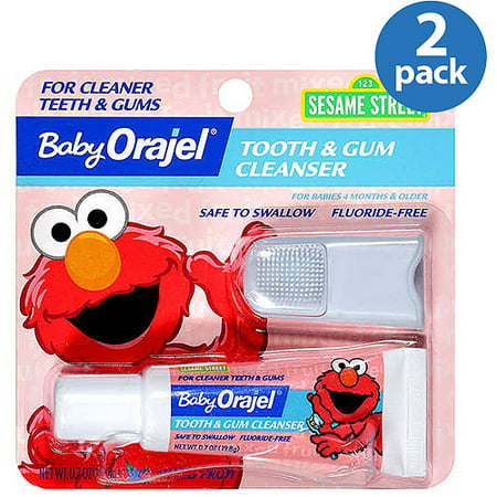 Babys 1st Tooth - (2 Pack) Baby Orajel Gel & Finger Toothbrush Mixed Fruit Tooth & Gum Cleanser .7 Oz Peg