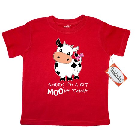 Inktastic Sorry  Im A Bit Moody Today Cute Cow Pun Toddler T Shirt Farm Animals