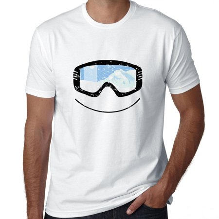 Snowboarding Skiing Googles with Mountain Reflection Men's T-Shirt Mountain Mens Snowboard Bindings