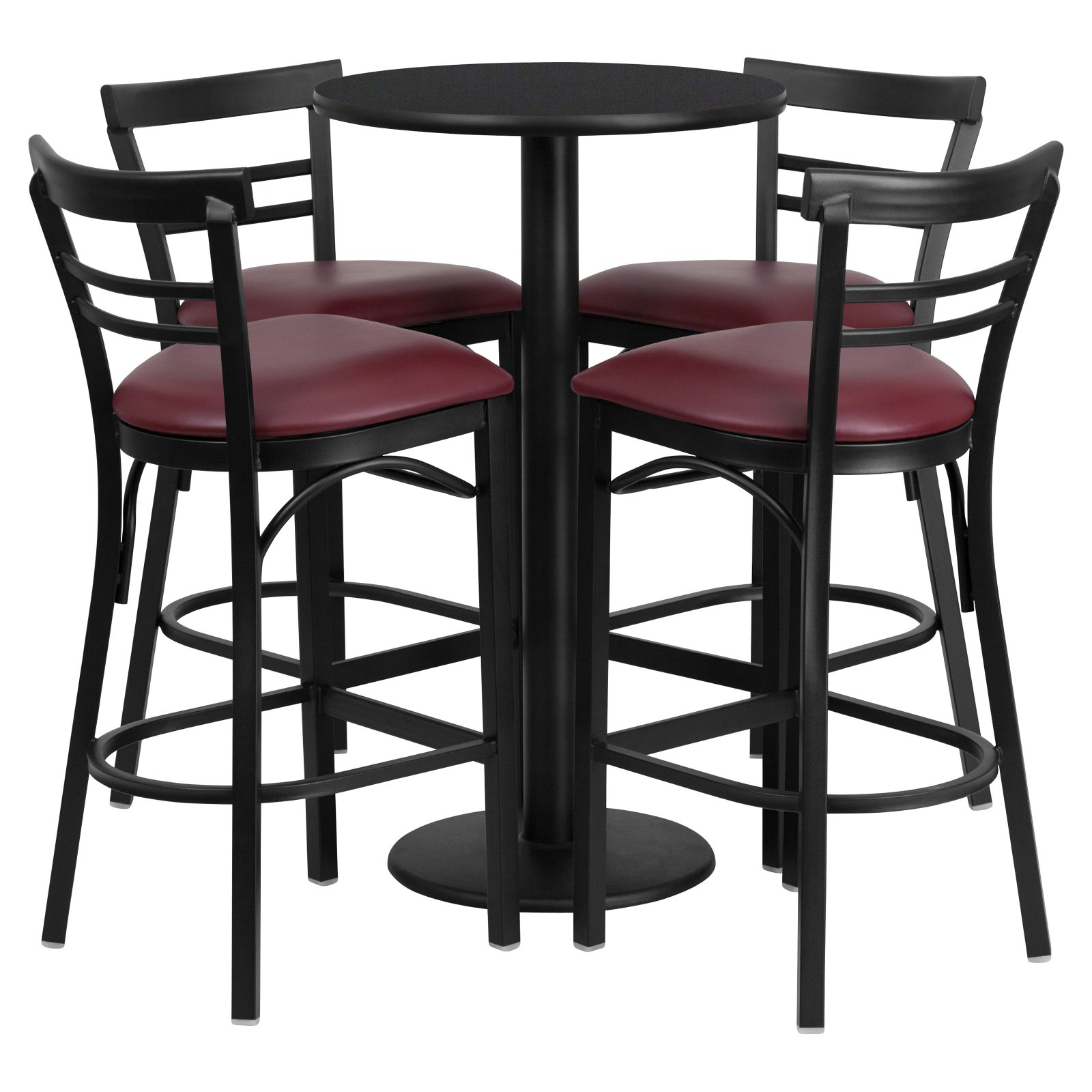 Flash Furniture 24'' Round Black Laminate Table Set with 4 Ladder Back Metal Barstools, Burgundy Vinyl Seat