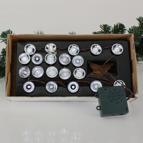 Set of 20 LED White Battery Operated Spot Lights with Touch Sensor - Brown Wire