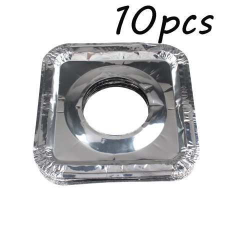 - 10PACK Aluminum Foil Square Stove Burner Covers Range Protectors Bib Liners Disposable Gas Burner Bibs Gas Top Liner Stove for Easy Clean (Square, Round)