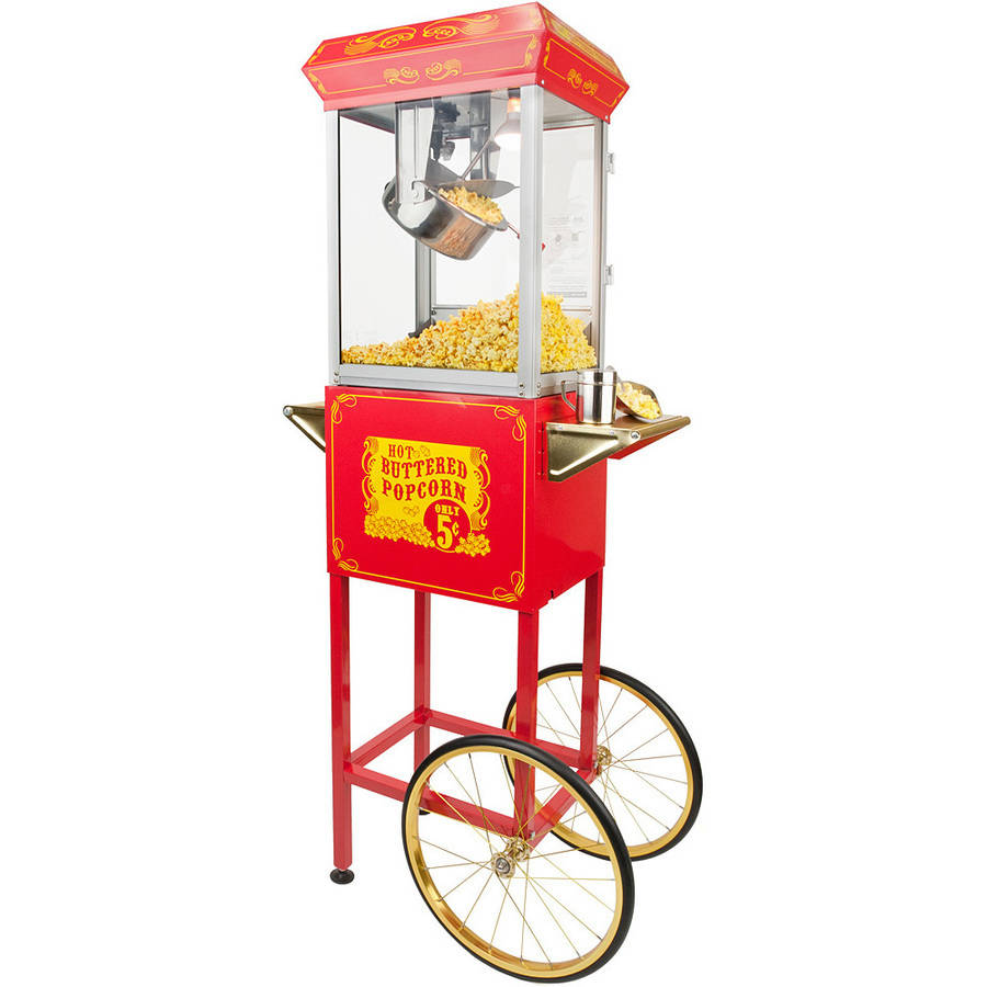 Full Size Carnival Style 8 oz Popcorn Maker Machine with Cart, Red and Gold