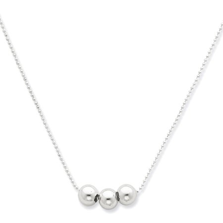 Sterling Silver Polished 3 Bead Necklace