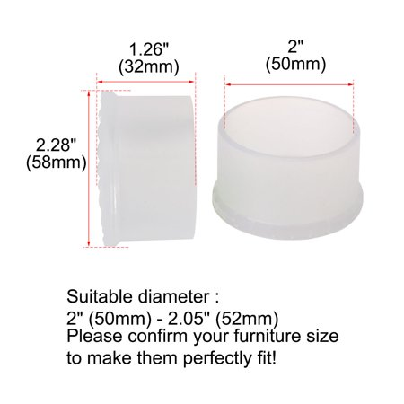"Clear Chair Leg Caps Pad Cover Furniture Floor Protector 18pcs 2"" 50mm Inner Dia - image 3 de 7"