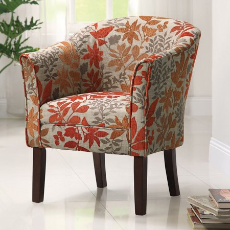 Coaster Company Arcadia Barrel Accent Chair, Beige/Red/Orange