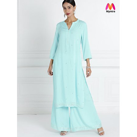 6d8a33b31bc all about you from Deepika Padukone Women Blue Self Design Mirror Work Kurta  with Palazzos ...