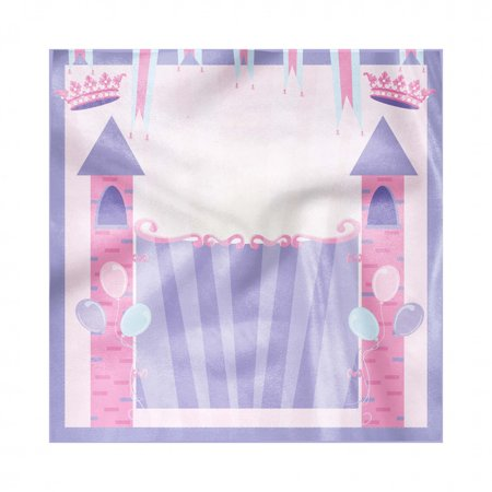 Princess Birthday Party Theme (Castle Napkins Set of 4, Party Theme Curtain Fortress Princess Birthday Balloons Print, Silky Satin Fabric for Brunch Dinner Buffet Party, by)