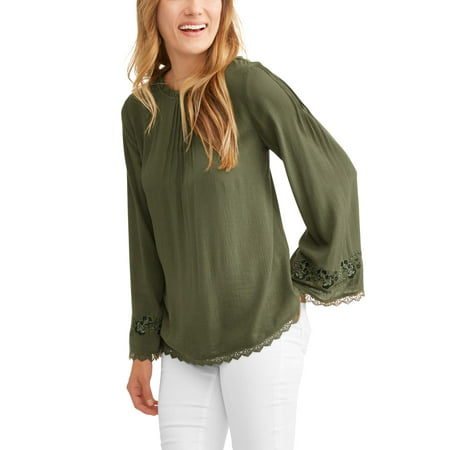 Womens Crinkle Embroidered Peasant Top