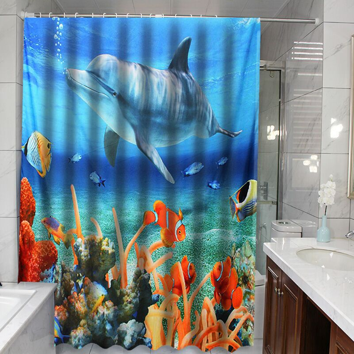 Garden Curtains Mermaids And Dolphin Under Sea Bathroom