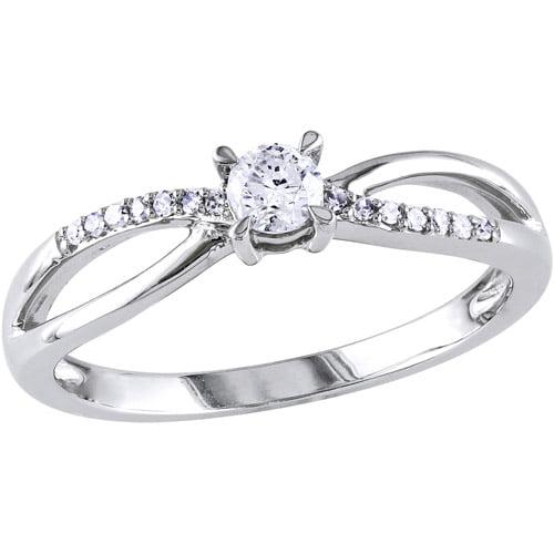 Miabella 1/4 Carat T.W. Round Diamond 10kt White Gold Engagement Ring
