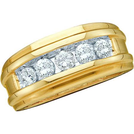 14kt Yellow Gold Mens Round Channel-set Diamond Wedding Anniversary Ring Band (.25 cttw.) Gents Diamond Wedding Ring