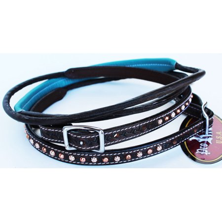 Horse 8ft Contest Western Tack Saddle Barrel Leather Reins Turquoise Brown 6643