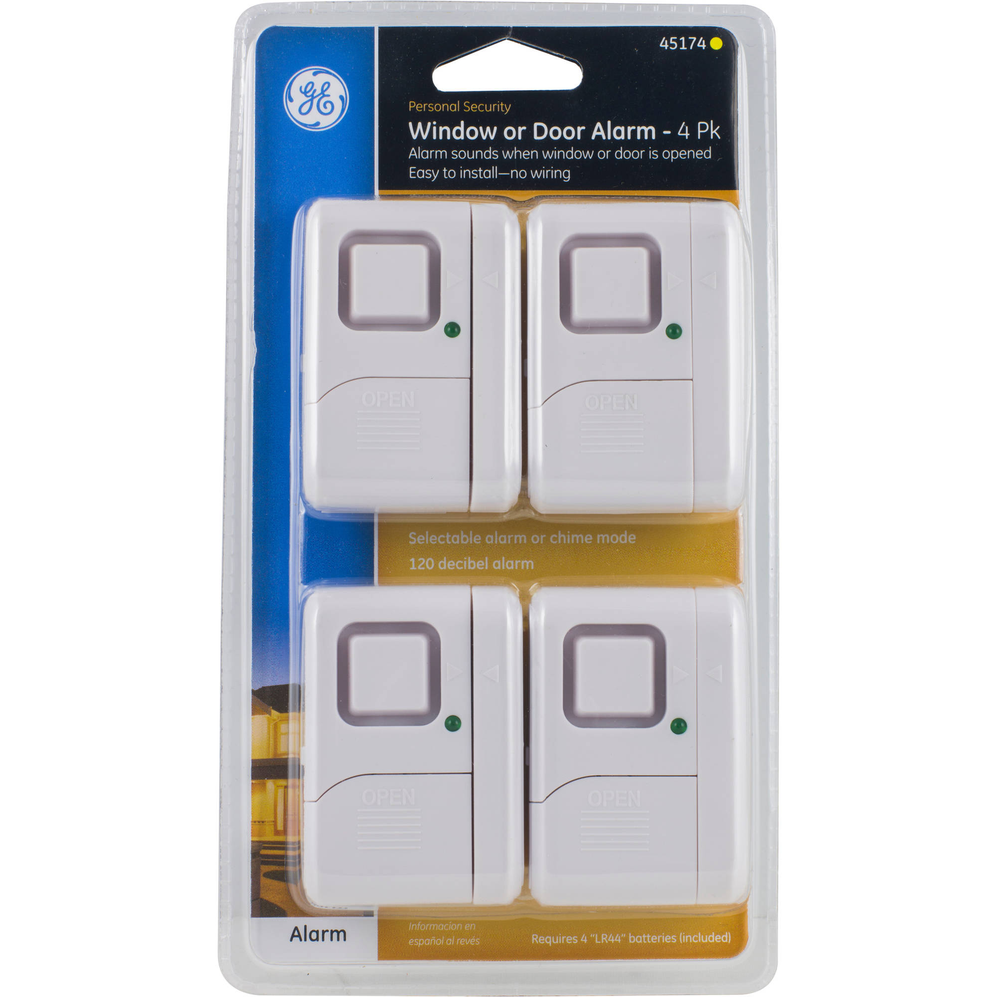 GE Personal Security Window/Door Alarm, 4 Pack   Walmart.com