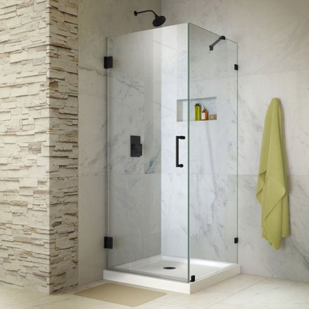DreamLine Unidoor Lux 30 3/8 in. W x 30 in. D x 72 in. H Frameless Hinged Shower Enclosure with Support Arm in Satin Black