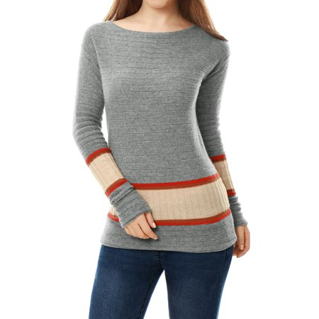 Unique Bargains Women's 100% Cashmere Jersey Contrast Rib Knit Boat Neck Sweater