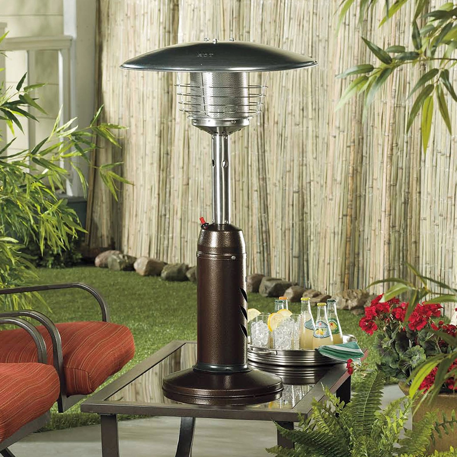 Az Patio Heater Portable Hammered Bronze And Gold Tabletop