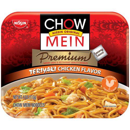 Nissin Premium Teriyaki Chicken Flavor Chow Mein Noodles 4 Oz Walmart Com