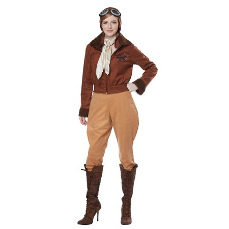 Womens Aviator Amelia Earhart Pilot Costume (Vegas Costumes For Womens)