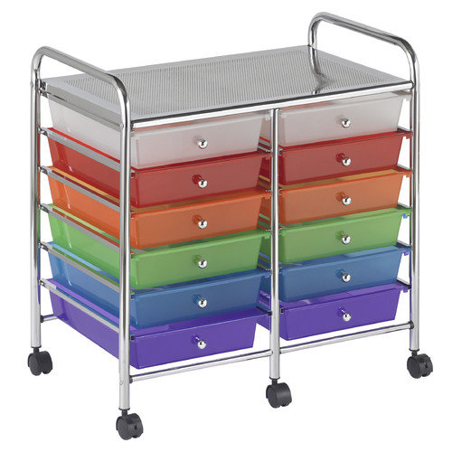 ECR4Kids 12 Drawer Double-Wide Mobile Organizer