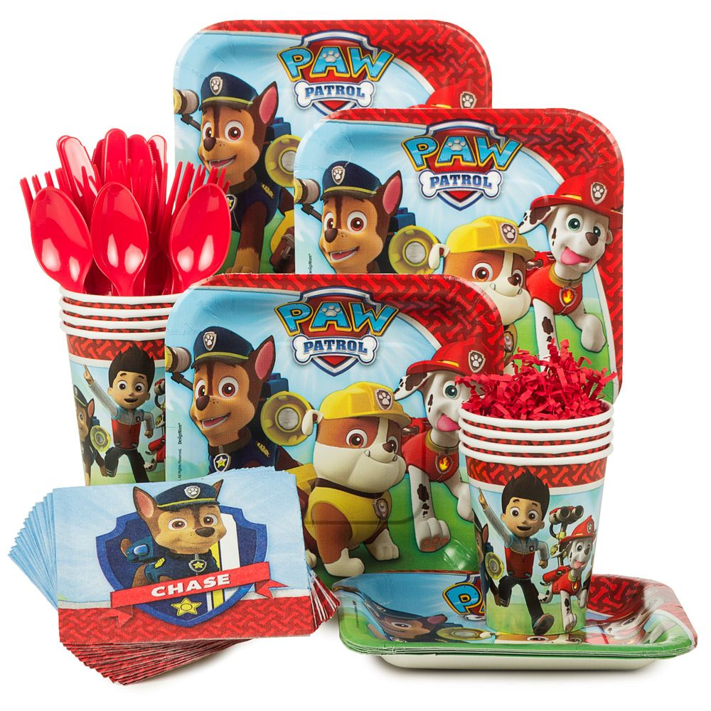 Paw Patrol Standard Birthday Party Tableware Kit Serves 8 - Party Supplies