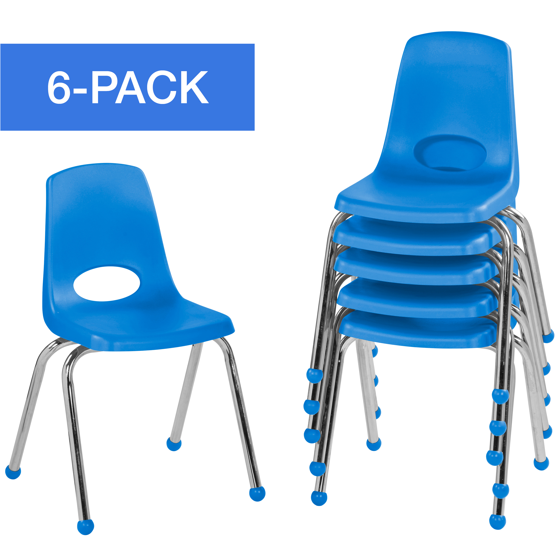 ECR4Kids 16in Stack Chair Chrome Legs Ball Glide - Blue