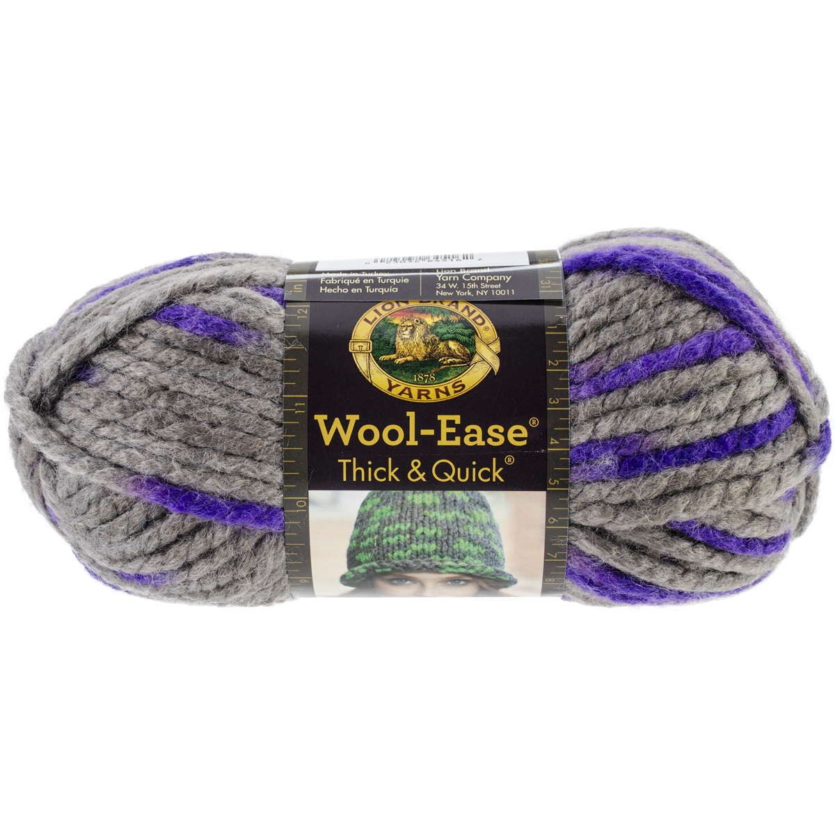 Lion Brand Wool-Ease Thick and Quick Yarn, Purple Martin Multi-Colored