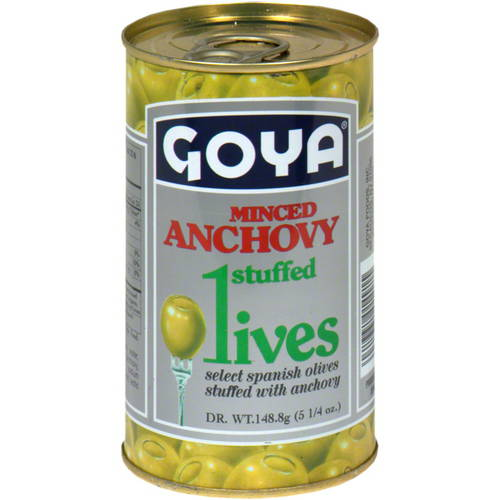 Goya Minced Anchovy Stuffed Olives, 5.25 oz. (Pack of 12)