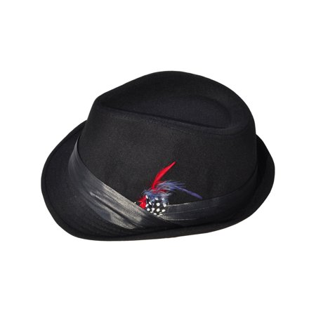 Mens Wool Fedora Trilby Hat Feather with Black Band](Fedora Black)