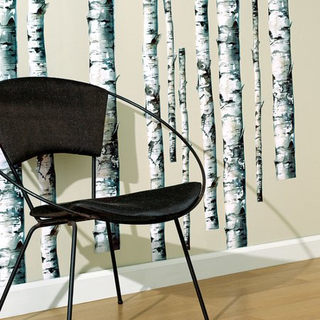 Wallies birch trees wall decal set of 2 for Birch trees wallpaper mural